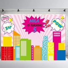 BEIPOTO девушка супергерой фон на заказ День рождения баннер ребенок конфеты украшение стола фото стенд фон розовый B-425