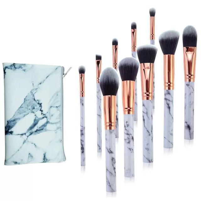 10 Pcs professional makeup brush Set tools Powder Foundation Eyeshadow Lip Eyeliner Blush Marble Face Makeup Brushes 2