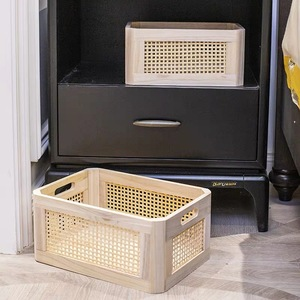 Image 3 - Wooden storage box practical handmade primary color desktop decorative clothes storage basket kitchen interior household items