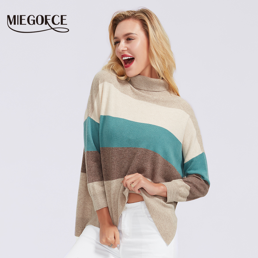 MIEGOFCE 2019 Round Neck For Women Casual Knitted Winter Sweaters Striped Jumper Women's Patchwork Pullovers Chic Blouses