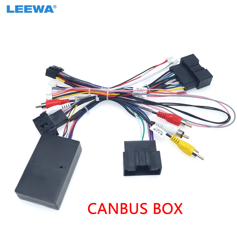 LEEWA Car Audio 16PIN Android Power Cable Adapter With Canbus Box For Ford Focus Ranger Audio Power Wiring Harness  #CA6377