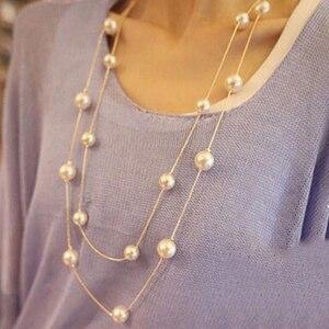 Имитация жемчуга Длинная цепочка ожерелье двойной Слои леди многослойное украшение на шею воротник, элегантный ювелирный вечерние ожерелье для выпускного с жемчугом