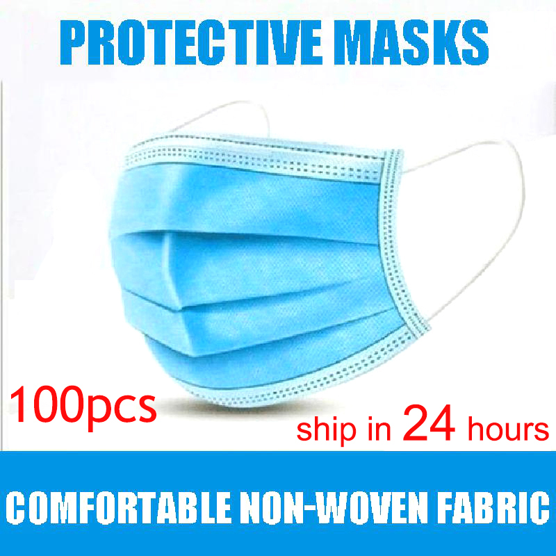 50Pcs/100pcs Mask Dispos Able Nonwove 3 Layer Ply Filter Mask Mouth Face Mask Filter Safe Breathable Protective Masks