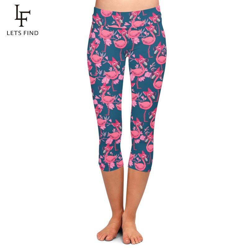 LETSFIND Summer New 3D Hand Drawn Cute Pink Flamingo Print Women Capri Leggings High Waist Plus Size Soft Fitness Leggings