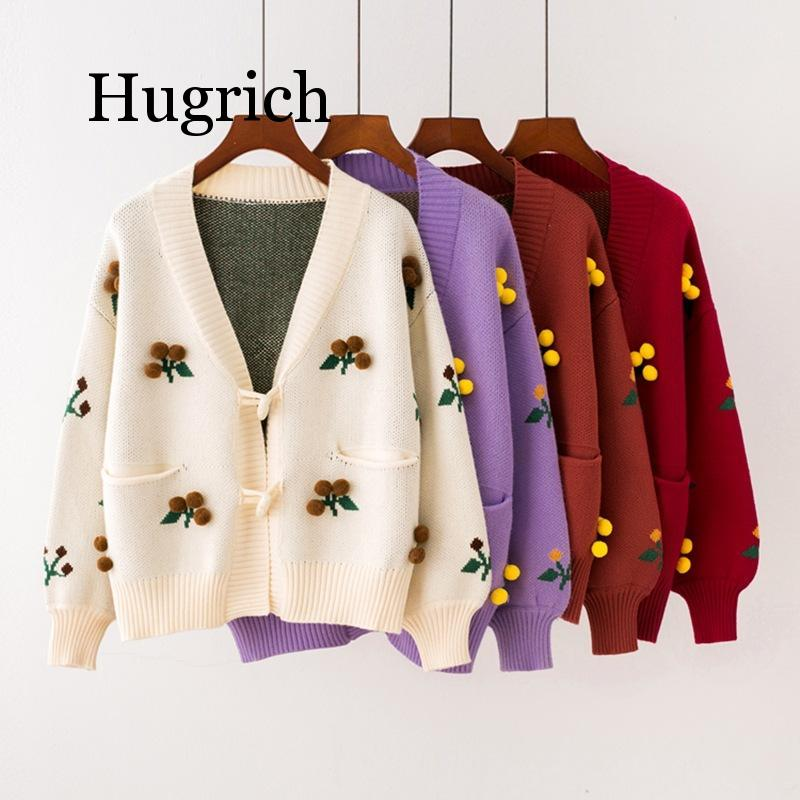 2020 Women's Sweaters New Autumn And Winter Horn Buckle Knit Cardigan Sweater Sweet Hairball Flower Women Cardigan Coat