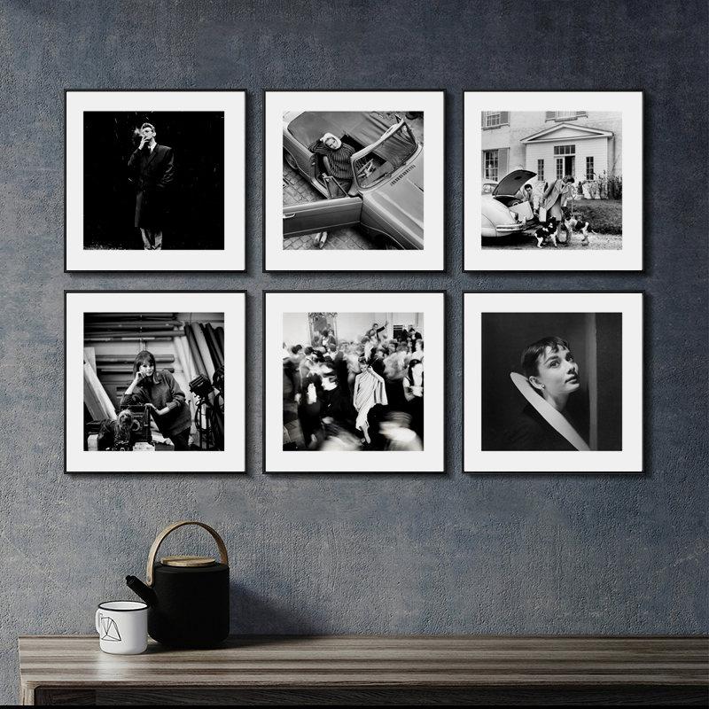 Ретро фон для фотосъемки декорации Плакаты Скандинавская Картина на холсте домашний Декор стены искусства Черный и белый Винтаж рисунок пр...