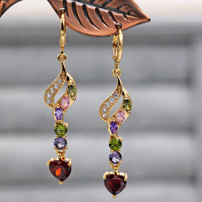 Hf3e841bd39334484928f875f2069c759Z - Trendy Vintage Drop Earrings For Women Gold Filled  Red Green Pink Lavender Zircon Earrings Gold  Earring Wedding  Jewelry
