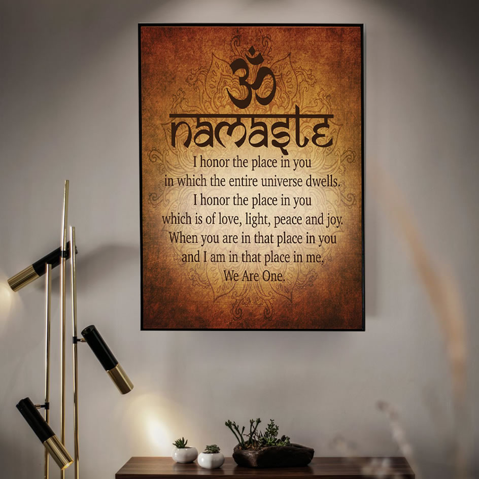 Namaste Buddhist Inspirational Motivational Spiritual Yoga Quote Print And Poster Canvas Painting Pictures For Home Decor