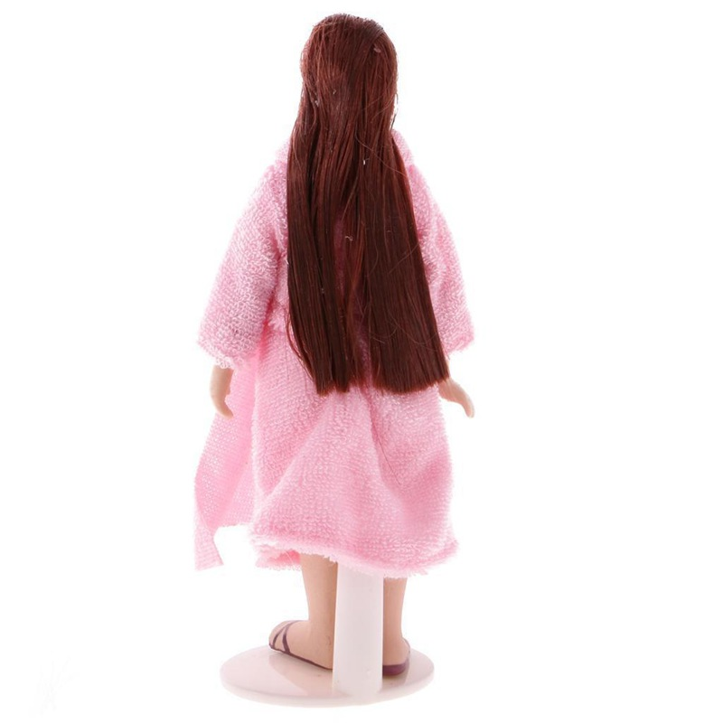 1//12 Dolls House Miniature Long Hair Lady in Pink Pajamas Doll with Stand