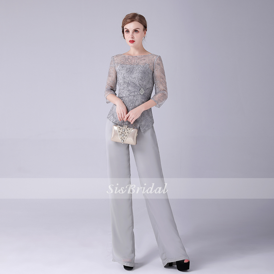 Bateau 3/4 Sleeves Illusion Long Chiffon Lace Mother Of The Bride Jumpsuit For Wedding Party