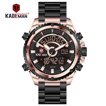 Kademan homens relógios moda esporte relógios de pulso à prova ddual água dupla exibição relógio digital militar do exército masculino relógio relogio masculino