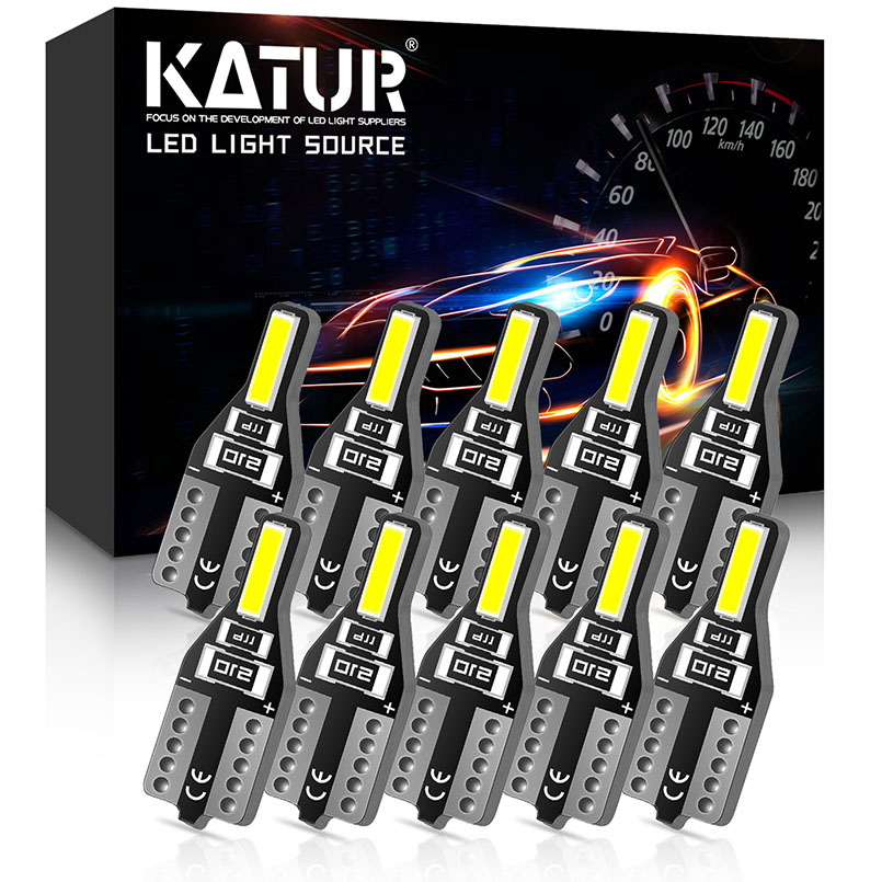 Katur 10x T10 W5W LED Bulbs 6000K 12V White Car Led Interior Lights Dome Reading Light For Citroen C4 Picasso Berlingo Xsara C5
