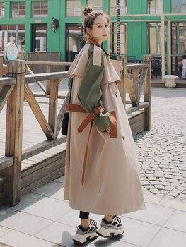 ¡Novedad! Gabardina de moda para mujer, gabardina larga con doble botonadura y cinturón, cazadora para mujer, ropa de abrigo para primavera y otoño