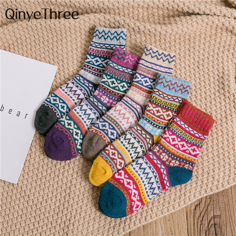 Men's Soft Warm Cashmere Novelty Funny Crew Geometric Striped Thicken Wool Winter Socks Christmas Gift Dropship