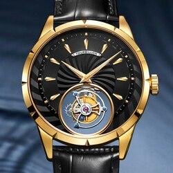 Guanqin Freizeit Tourbillon Uhr Männer Skeleton Mechanische Uhr Heißer Verkauf Wasserdicht Business Watch Für Mode Relogio Masculin