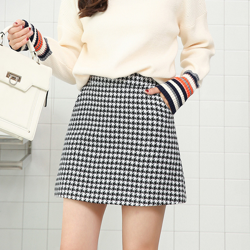 Winter Woolen Plaid Mini Skirt For Women 2019 Autumn Slim Houndstooth High Waist Womens Skirts Female Fashion Spring Skirts