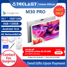 Teclast m30 pro 10.1 Polegada tablet p60 8 núcleo 4gb/6gb ram 128gb rom android 10 comprimidos pc 1920x1200 ips 4g chamada dupla wifi gps