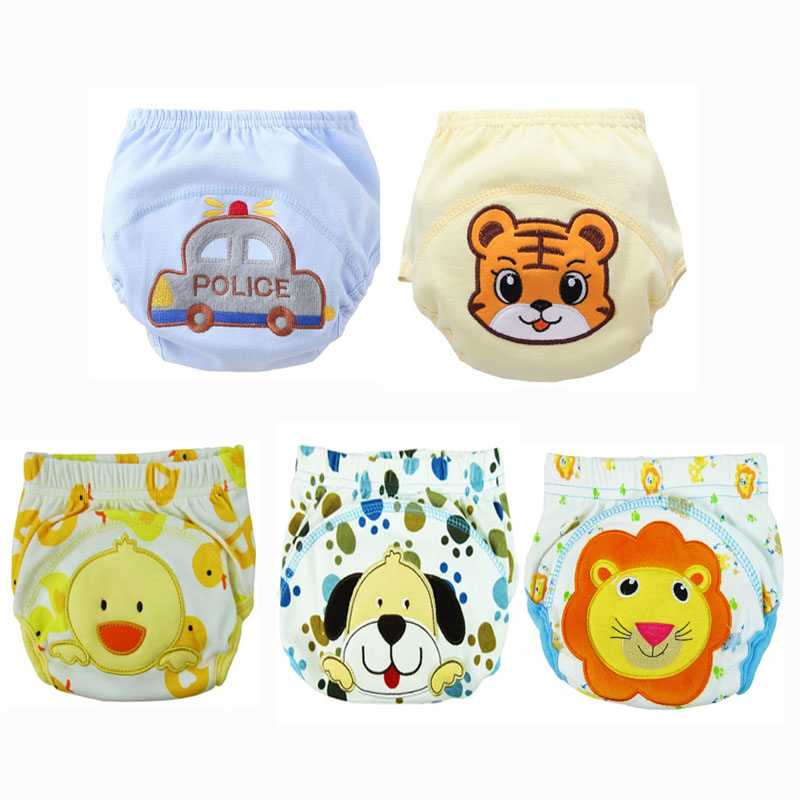 5pc/ Lot Baby Diapers Children Reusable Underwear Breathable DiaperS Training Pants Can Tracked Suit For 6-16kg