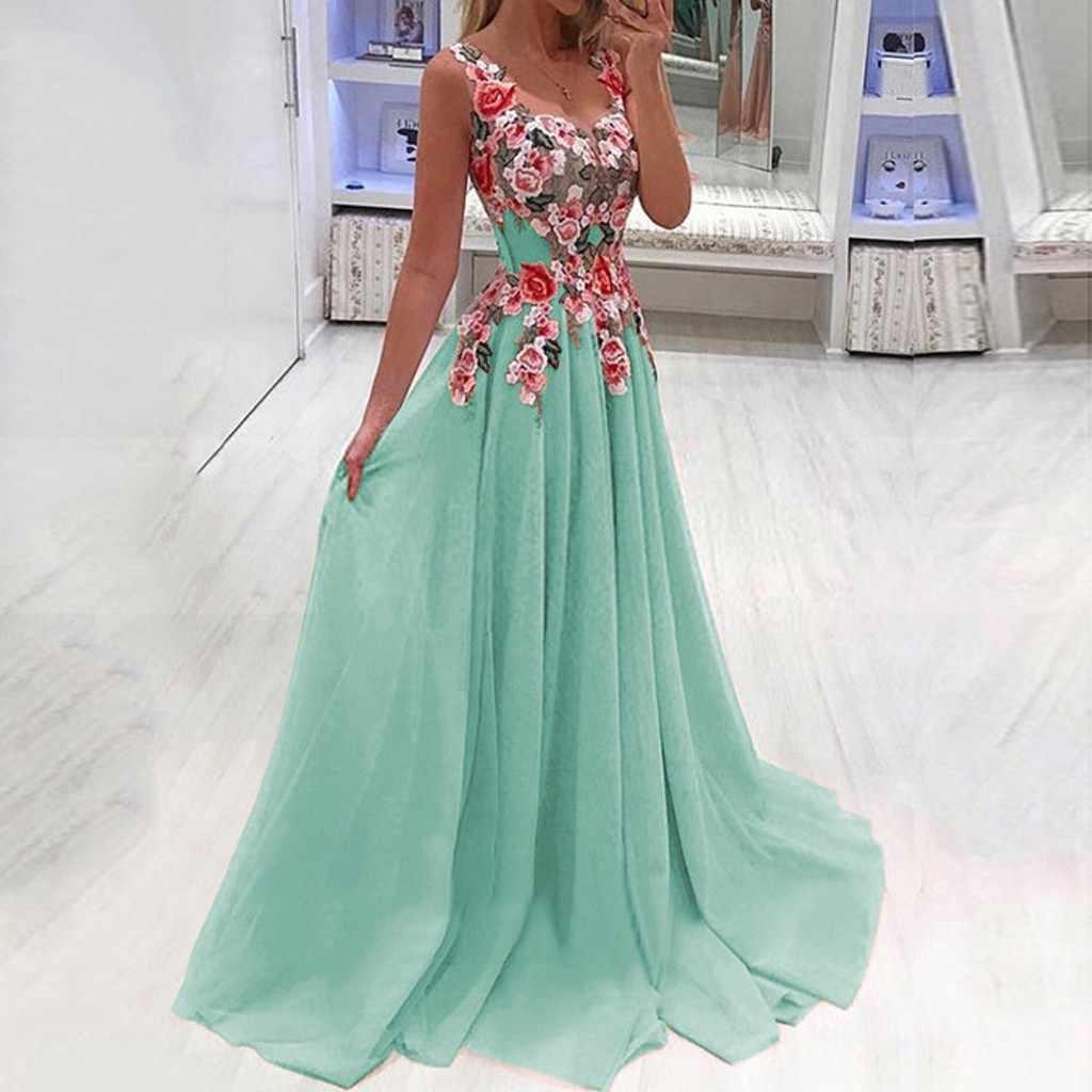 Womail платья осень Плюс Размер Женская мода кружева аппликация платье без рукавов на бретелях Повседневная длина до пола Топ свадебное платье для гостей