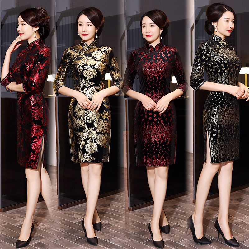 FZSLCYIYI  Evening Party Dress Chinese Style Women Velour  Qipao Improved Half Sleeve Print Cheongsam Vestidos Oversize 5XL