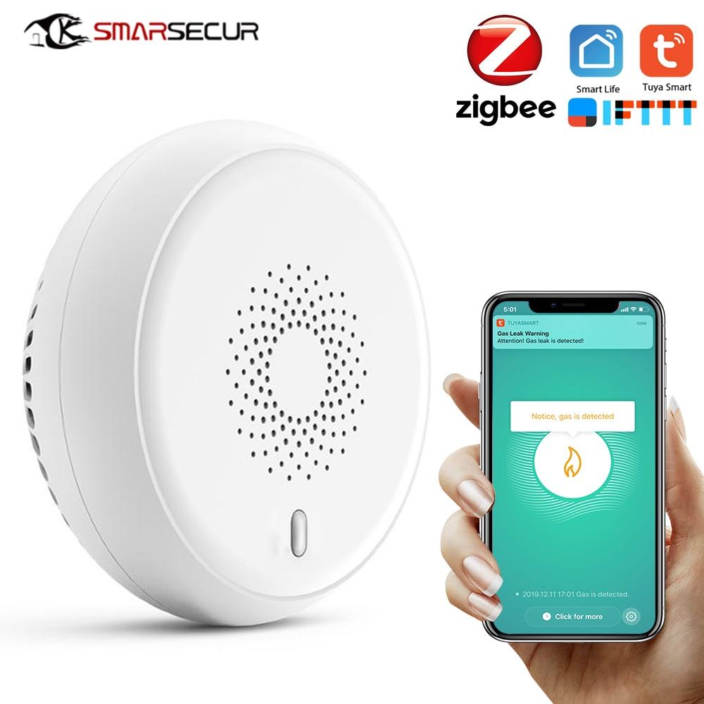 SMARSECUR Zigbee GAS Detector Alarm Detect Natural Leak Combustible Gas Detector Tuya Smart Life