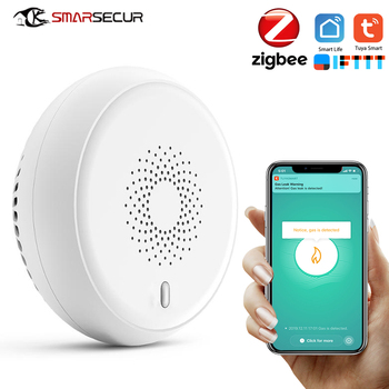 цена на SMARSECUR Zigbee GAS Detector Alarm Detect Natural Leak Combustible Gas Detector Tuya Smart life