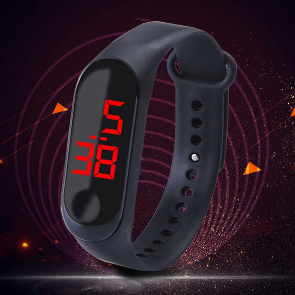 Prezent dla dzieci kobiety mężczyźni sport zegarki fitness LED cyfrowy zegarek z ekranem dotykowym silikonowy inteligentny zegarek pasek do nadgarstka zegar