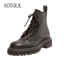 Women Winter Boots Female Warm Shoes Brand Ankle Black PLatform Lace Up Pointed Toe Autumn Casual Plus S