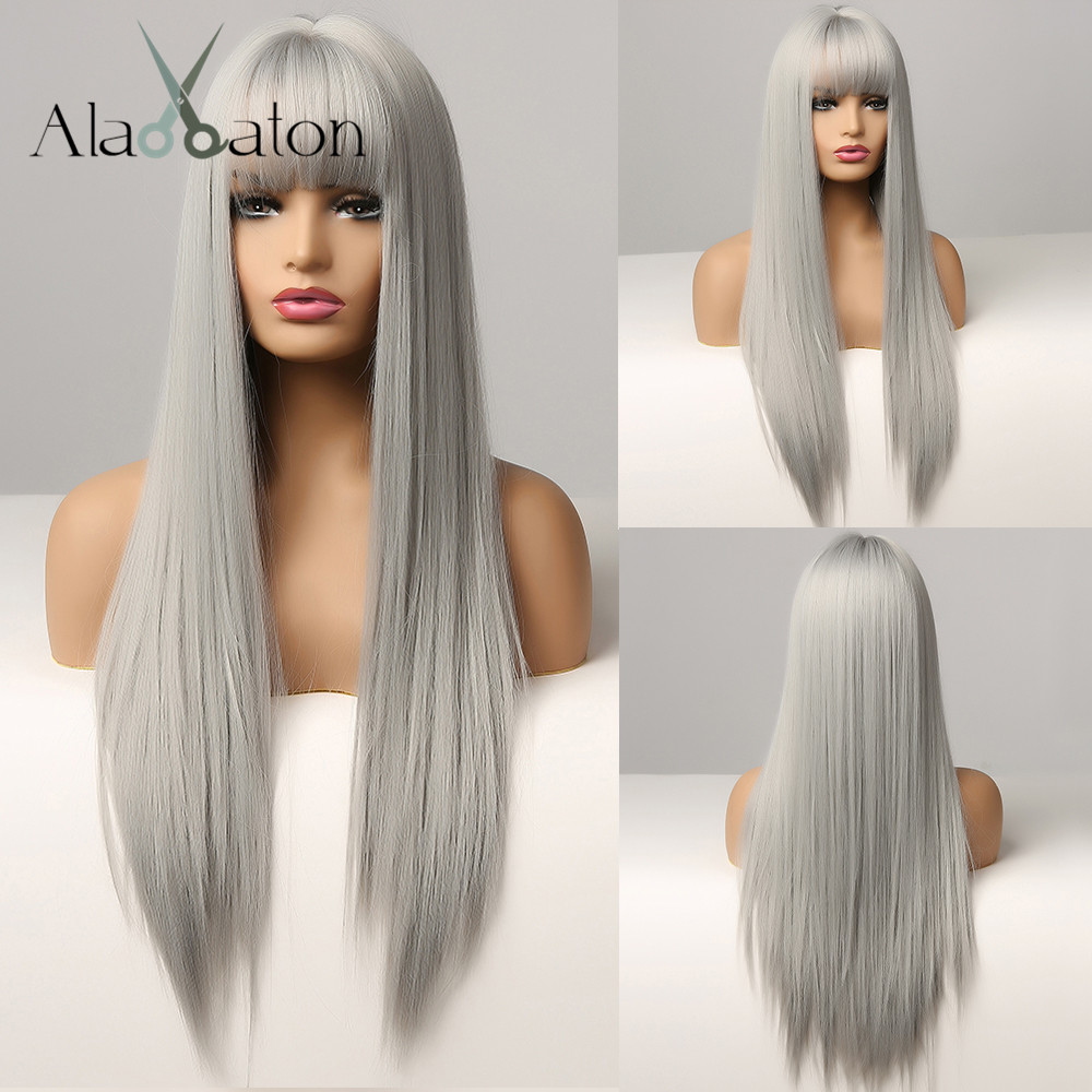 ALAN EATON Cosplay Silver Gray Wig for Women Natural Long Silk Straight Hair Wigs With Bangs For Women Girl Heat Resistant Fiber