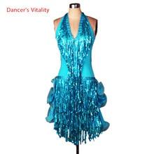 ベルトスパンコールタッセルラテンダンスのドレスの女性ラテンダンスの競技会ドレス v ラテンダンス衣装シニアセクシーなディープ 4