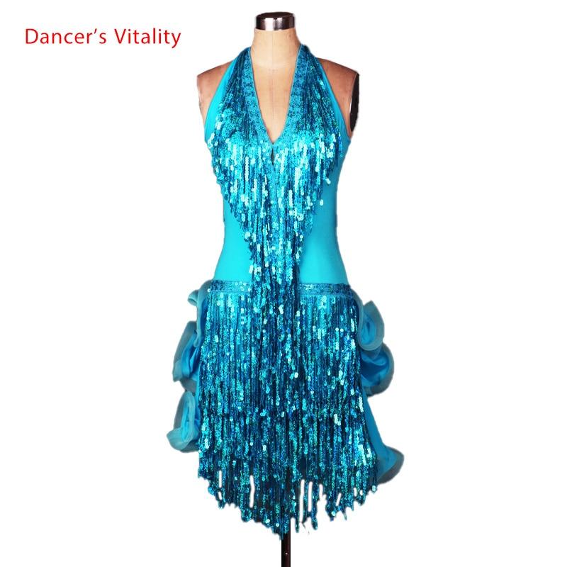 Costume de dans latin senior sexy Deep V curea paiete ciucuri rochie de dans latin pentru femei rochii de dans latin competiție 4 culori