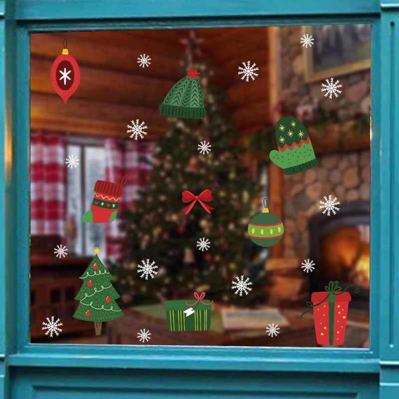 Cadeau de noël bonhomme de neige flocon de neige électrostatique autocollant fenêtre enfants chambre nouvel an Stickers muraux maison Stickers décoration papier peint