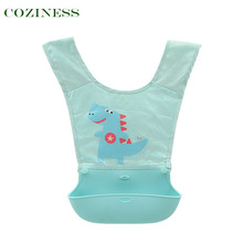 COZINESS Vest-Style Baby Learning To Eat Bib Silicone Gel Children Waterproof Dirt-proof Super Soft Baby Feeding Pocket Scarf