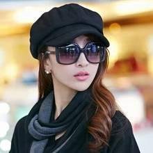 Женский осенне-зимний шерстяной берет, шапка для женщин, женская однотонная восьмиугольная шапка, черный, красный