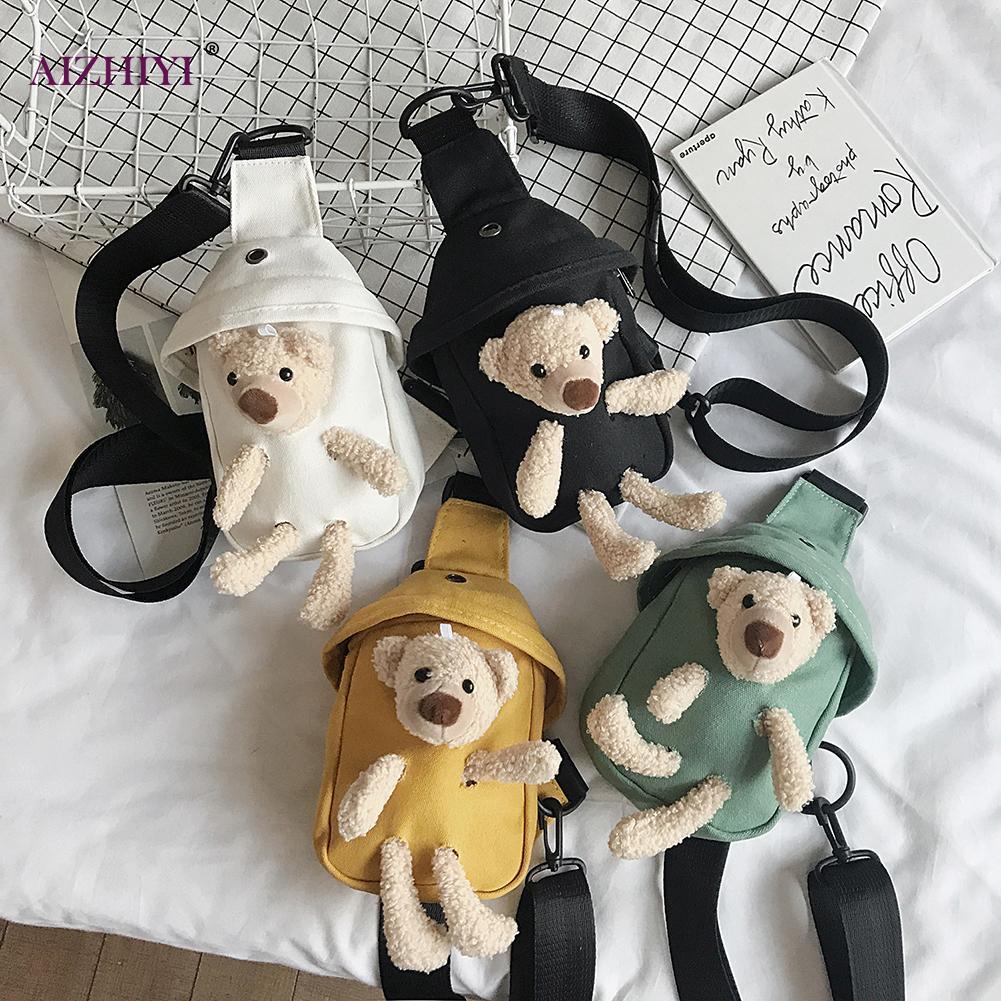 1.21US $ 45% OFF Women Cartoon Bear Waist Bag Canvas Chest Bum Belt Pack Cute Doll Shoulder Pouch Ou...