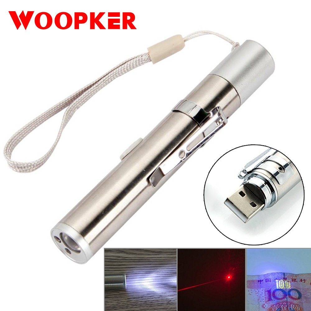 3 in 1 USB Rechargeable Red Laser Pointer / White LED Light Torch Mini Pet Cat Toys Flash Light With Metal Clip