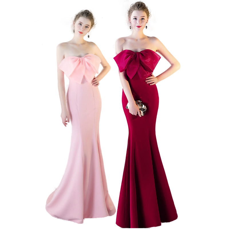 Sexy Bow-Knot Satin Evening Dresses Long Mermaid Women Party Dress Ladies Solid Sexy Robes Elegant Formal Gown For Wedding Guest