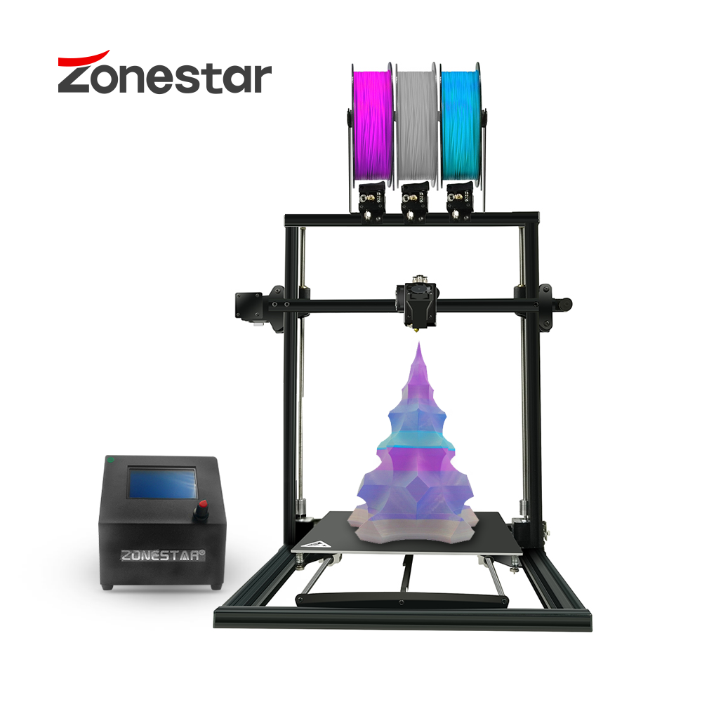 ZONESTAR Newest Triple Extruder Large Size Auto Mix Color 3-IN-1-OUT Fast Assembly Full Metal Frame 3D Printer DIY Kit Free Ship