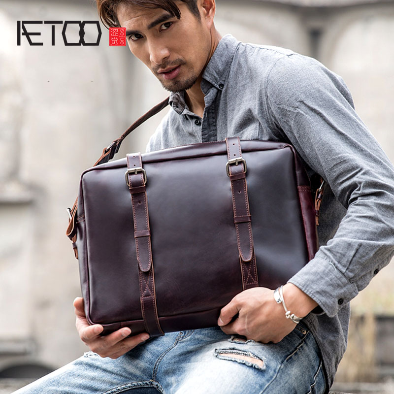 BJYL Leather Men's Bag Handbag Casual Men's Retro Bag Briefcase First Layer Leather Shoulder Bag Messenger Bag
