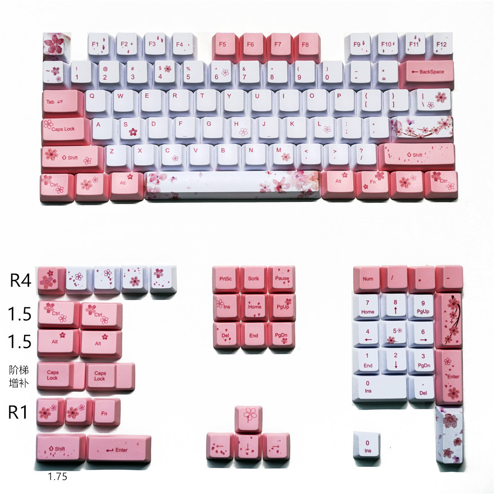 OEM PBT Keycaps Full Set Mechanical Keyboard Keycaps PBT Dye-Sublimation Keycap For All Sakura Keycap Set