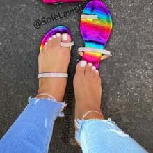 Женские пляжные шлепанцы повседневные сандалии радужной расцветки