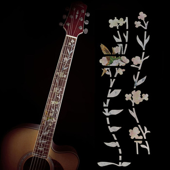 Guitar Inlay Decals Sticker White Hummingbird Flower Shape Fretboard Markers for Electric Acoustic Classical Guitar Bass Ukulele high quality guitar fretboard markers inlay sticker decals star shape for electric acoustic classical guitar bass ukulele