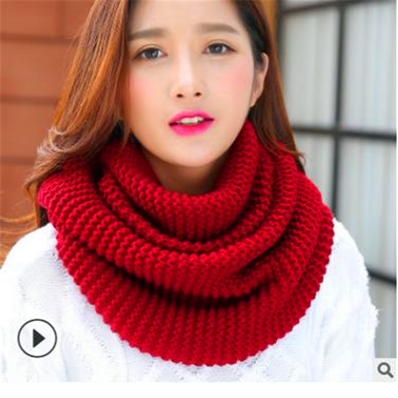 Winter New Han Edition Scarves Knitting Wool Collar Woman With Thick Warm Pure Color 2 Trap Head Scarf CN009