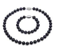 Women Jewelry set 10mm black colors real pearl necklace bracelet 925 silver clasp AAA Cultured freshwater pearl