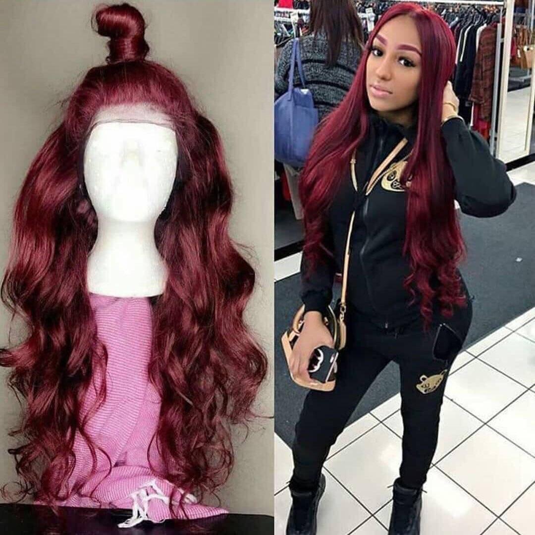 13*6 объемная волна 1b/99J цветные кружевные передние человеческие волосы парики для женщин Омбре Бургундский кружевной передний парик предвар...