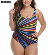 ملابس سباحة مقاس كبير موضة 2020 من Riseado بدلة سباحة نسائية رياضية من قطعة واحدة مخطط مطبوع عليها ظهر حرف U ملابس سباحة ملابس شاطئ 3XL