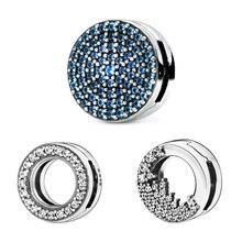 Новинка зимы, серебряные бусины 925 пробы, сверкающие Подвески на зажимах, подходят к оригиналу Pandora Reflexion, браслеты для женщин, сделай сам, ювелирные изделия