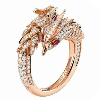 Shiny crystal dragon and phoenix ring for male and female hollow carved scaly ring female punk fashion ring jewelry wholesale image