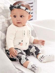 Infant Clothing Outfits Pants T-Shirt Headband Long-Sleeve Newborn Baby-Girl Rabbit-Pattern