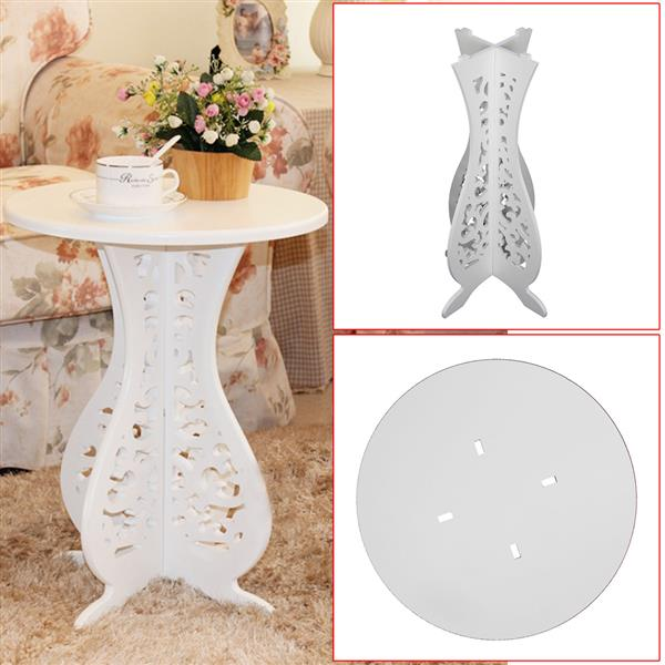 Concise Round Pvc Sofa Side Table White Simple But Elegant